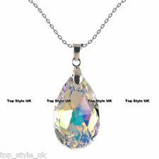 18K WHITE GOLD GP BEAUTIFUL TEAR DROP CRYSTAL DIAMOND NECKLACE PENDANT ANGEL