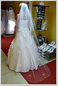 White-Ivory-Wedding-Prom-Bridal-2-Tier-Veil-Cathedral-78-034-Swarovski-Crystals