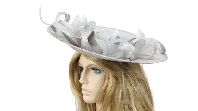 John Charles 26732 Dove Grey Mother Of The Bride Formal Wedding Fascinator Hat