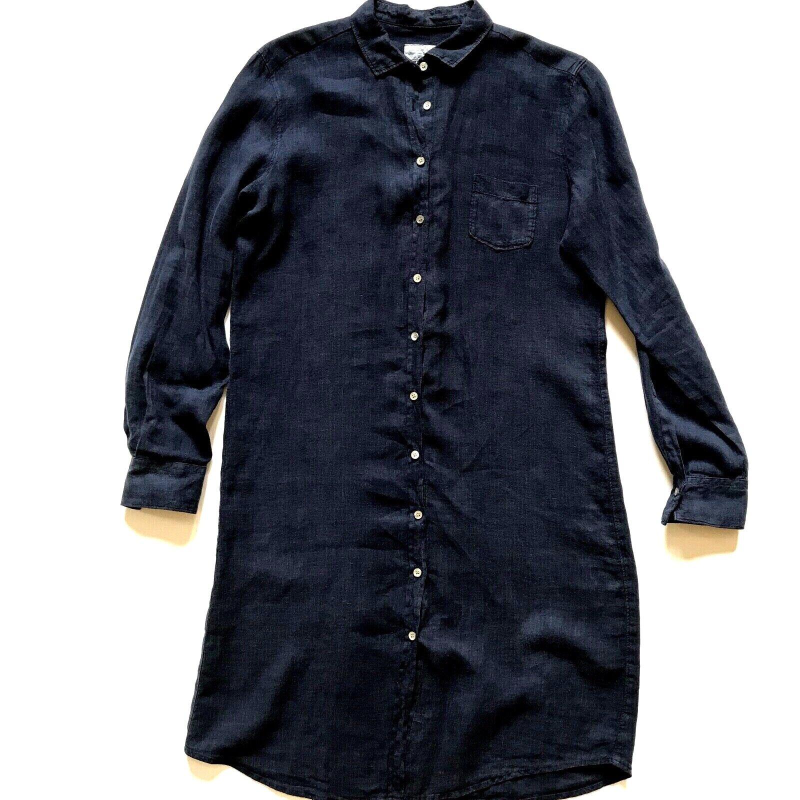 Hartford alternativas Camisa Vestido para mujer 3 3 3 Manga Larga de Lino Azul Marino Medio M f91db0