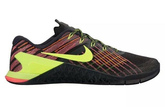Nike Metcon 3 Mens 852928-012 Black Crimson Volt Punch Training Shoes Comfortable
