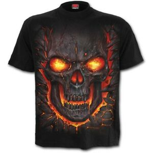 SPIRAL-DIRECT-SKULL-LAVA-T-Shirt-Flames-Reaper-Skulls-Death-Tee