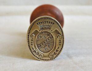 SCEAU-CACHET-ARMOIRIES-Couronne-de-COMTE-XIXe-Antique-wax-seal-stamp-19th