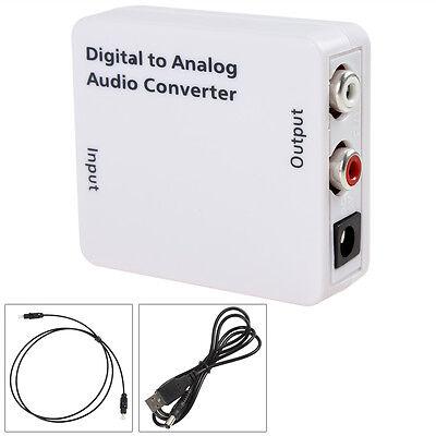 White Mini Digital Optical Coaxial Toslink Signal to Analog Audio Converter