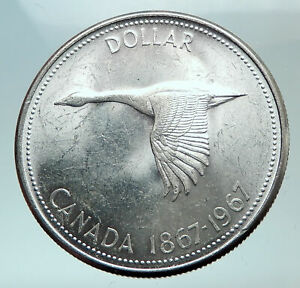 1967-CANADA-CANADIAN-Confederation-Founding-with-GOOSE-Silver-Dollar-Coin-i82106