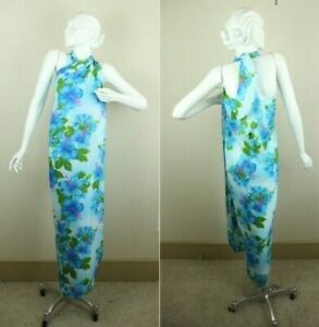 Vintage-Pacific-Isle-Hawaii-Floral-Beach-Wrap-Sarong-Swim-Cover-Blue-Hibiscus