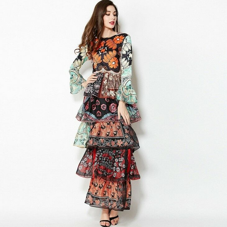 Fashion Women's Women's Women's Floral Print Ruffles Maxi Dress Long Sleeve Party Casual Dresses 82368b