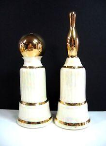 BOWLING-Ball-Pin-Vintage-SALT-PEPPER-SHAKERS-Shimmering-White-Porcelain-Glass