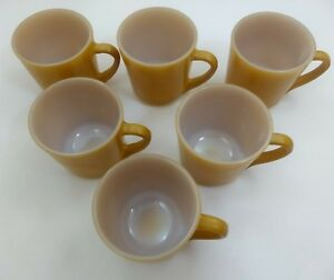 LOT-6-NOS-Anchor-Hocking-CUPS-Tan-GOLD-Coffee-MUG-Tea-1089-SET-NEW-Oven-Proof-26