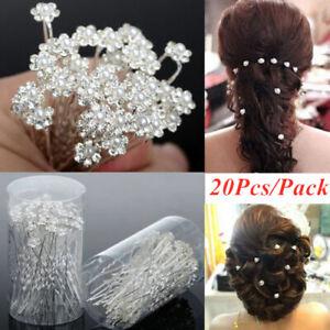 Bridal wedding rhinestone pearl and crystal hair pins