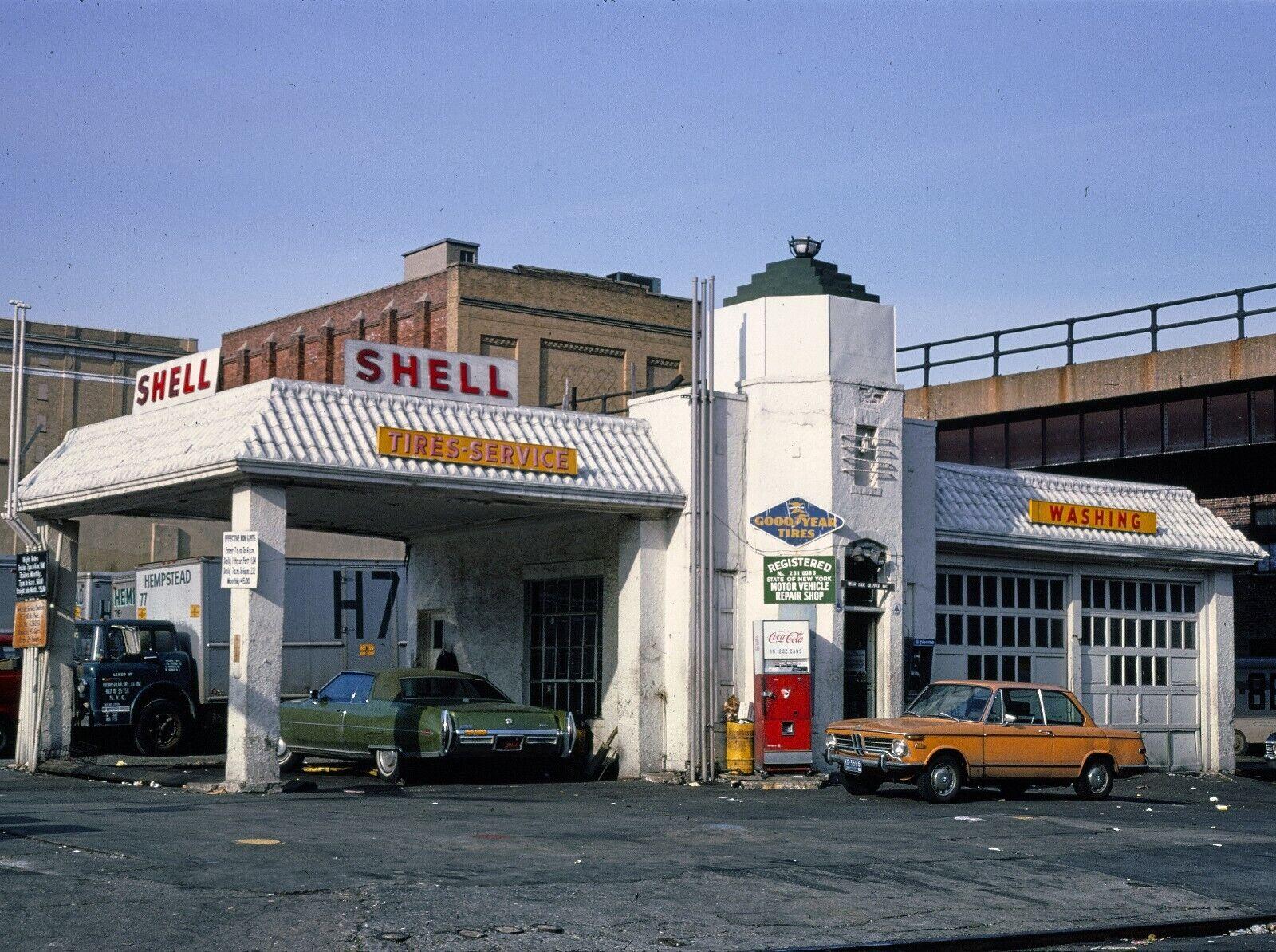 Image 01 - Shell Gas Station New York City NY 8.5x11 Color B&W Photo Print