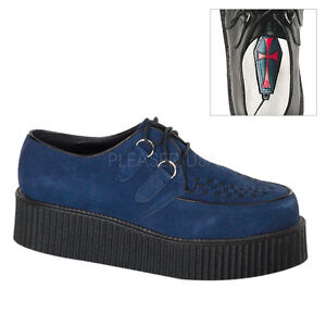 Punk Creepers Shoes Rock Demonia Unisex Sole Navy Creeper Suede 402 Blue Hi gYbfy76v