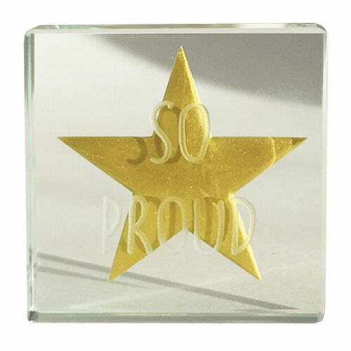 Spaceform Glass Minature Token Gold Star So Proud Well Done Keepsake Gift