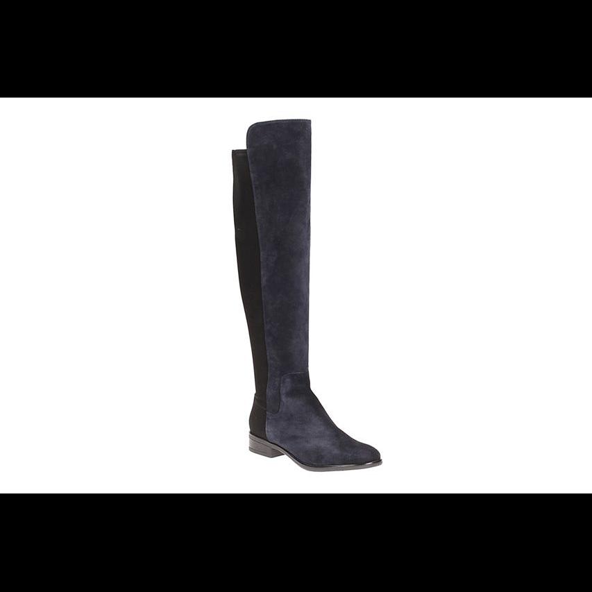 NEW Clarks  Caddy Belle    Ladies Navy Suede Long Over Knee Boots UK 5.5 D 032444