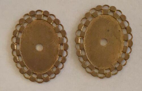 8 PCS Vintage 1940/'S open cut work flat back brass jewelry stampings findings