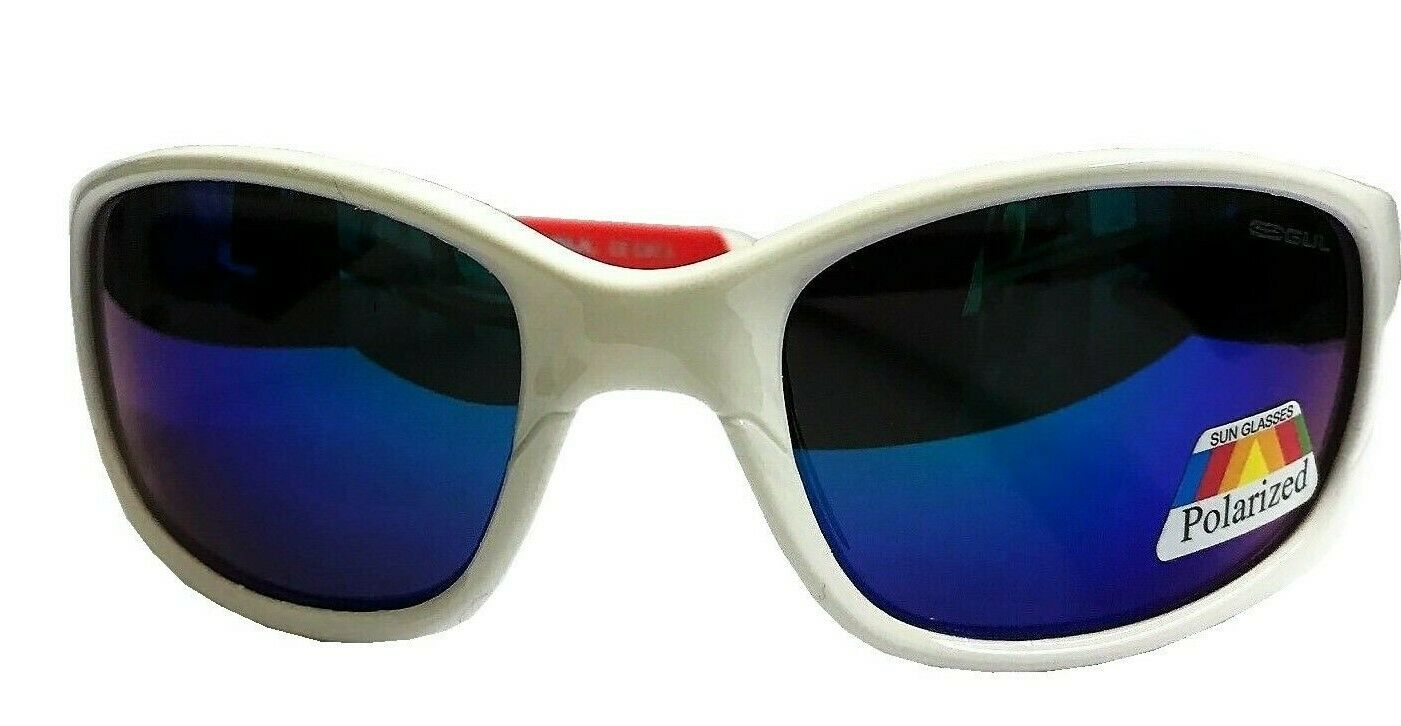 Gul 2019 Saco Floating Sunglasses bluee Polarised Lens White Red Wrap Frame
