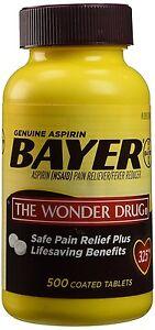 Bayer aspirina dolor alivio 2-500 cubierto pastillas 325mg 7/19
