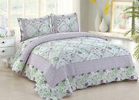 Lovely Full Queen Quilt Set : Cottage Ruffled Rag Purple Lavender Roses Plaid
