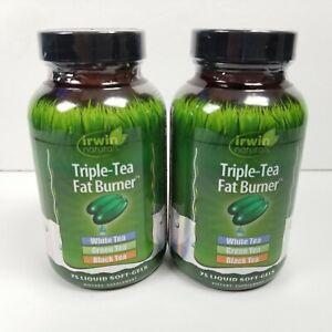 2x Irwin Naturals Triple-Tea Fat Burner 75 Liquid Softgels 01/21