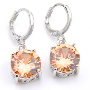 Party-Gift-Round-Cut-Natural-Honey-Morganite-Gems-Silver-Dangle-Hook-Earrings