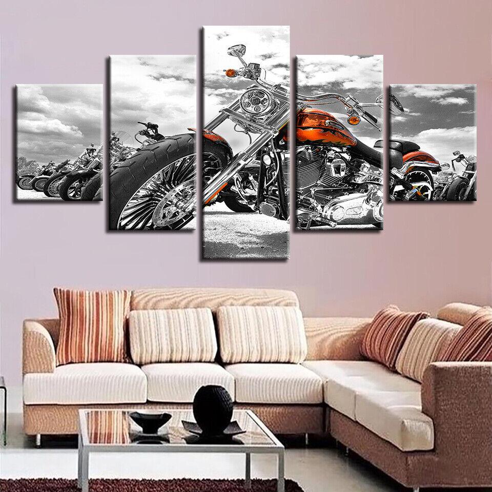 Orange Sport Motorbike 5 pieces Canvas Wall Decor Home Decor Canvas Print