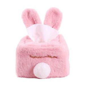 Cute Rabbit Ears Plush Paper Box Home Decor Car Cartoon Toilet Tissue Box Cover