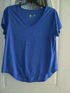 Xersion-Athletic-Top-Blue-V-neck-Short-Sleeve-Women-039-s-0X