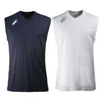 Errea Pro Cotton Gym Training Vest Top Navy Or White Mens Small, Medium Large