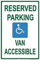 Handicap Reserved Parking Van Accessible 8 2 Aluminum Metal Sign Made In Usa