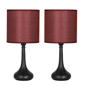 Details About Set Of 2 Bedside Table Lamps Wine Red Line Fabric Lampshade Black Lamp Base