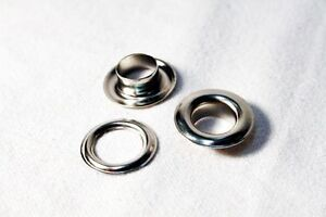 Aluminum Silver eyelets and grommets for banners 10 mm