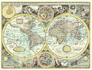 World map replica old 17c john speed all hand coloured a unique image is loading world map replica old 17c john speed all gumiabroncs Gallery