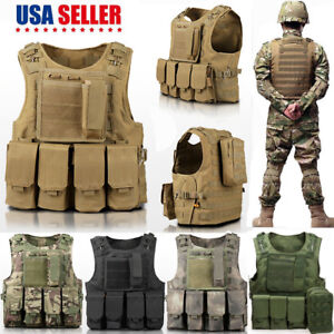 fff85c1bab5 Image is loading Army-Military-Molle-Combat-Airsoft-Tactical -Vest-Adjustable-