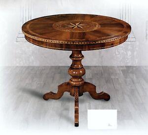 Tavolo da pranzo tondo in legno piano intarsiato fin noce for Tavolo richiudibile in legno