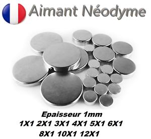 Aimant Neodyme puissant épaisseur 1mm : 1X1 2X1 3X1 4X1 5X1 6X1 8X1 10X1 12X1