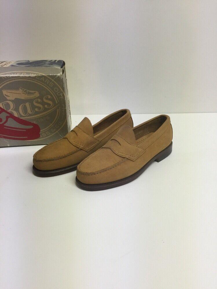 Vtg Bass Heritage Weejuns Penny Loafers Sz 7 D Leavitt Nubuck Wheat  A