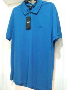 Hugo-Boss-Polo-Men-XL-KNIT-Blue-COLOR-034-Regular-Fit-034-short-sleeve-SHIRT-BRAND-NEW