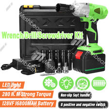 3in1 Cordless Electric Impact Wrench Gun 12 Driver Drill Withbatteryampsockets Us