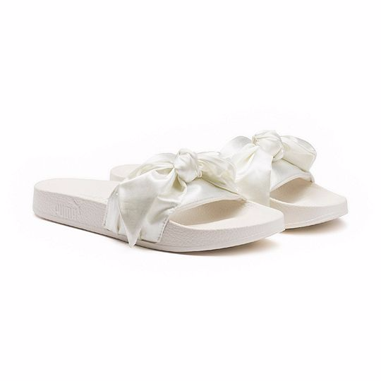 Puma Fenty by Rihanna Bow Slide Silver Women's Girls Flip-Flops Sandal 365774-02