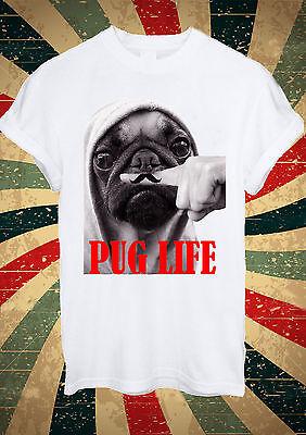 Funny Mustage Dog Pug Life Moustache T Shirt Men Women Unisex 1446