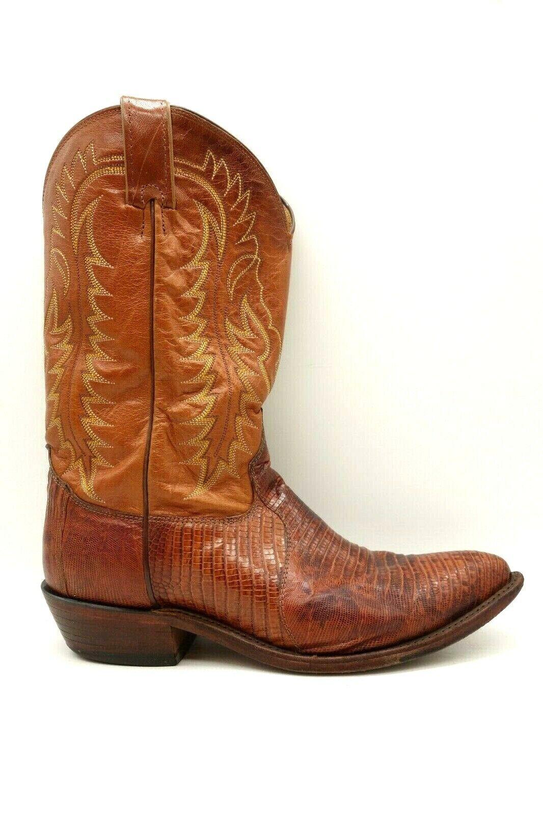 ROYA de Cuero Marrón Piel De Lagarto USA Western Cowboy Puntera en Punta botas para hombre 11 D