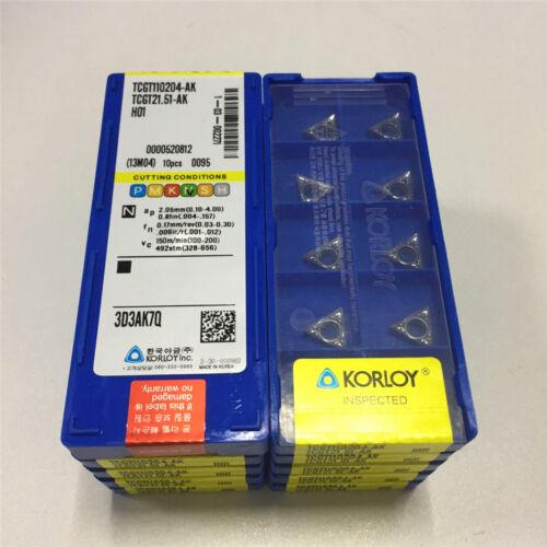 100pcs Korloy TCGT110204-AK H01 TCGT21.51-AK H01 CNC Aluminum Inserts