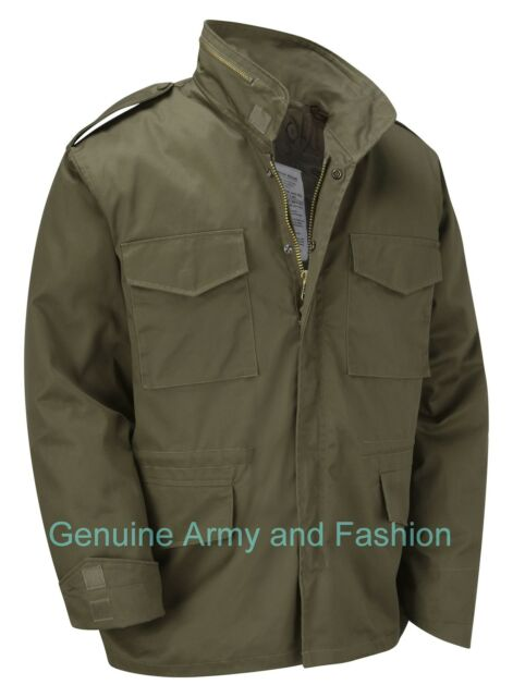 VINTAGE M65 JACKET US MILITARY ARMY FIELD COMBAT - Olive Green