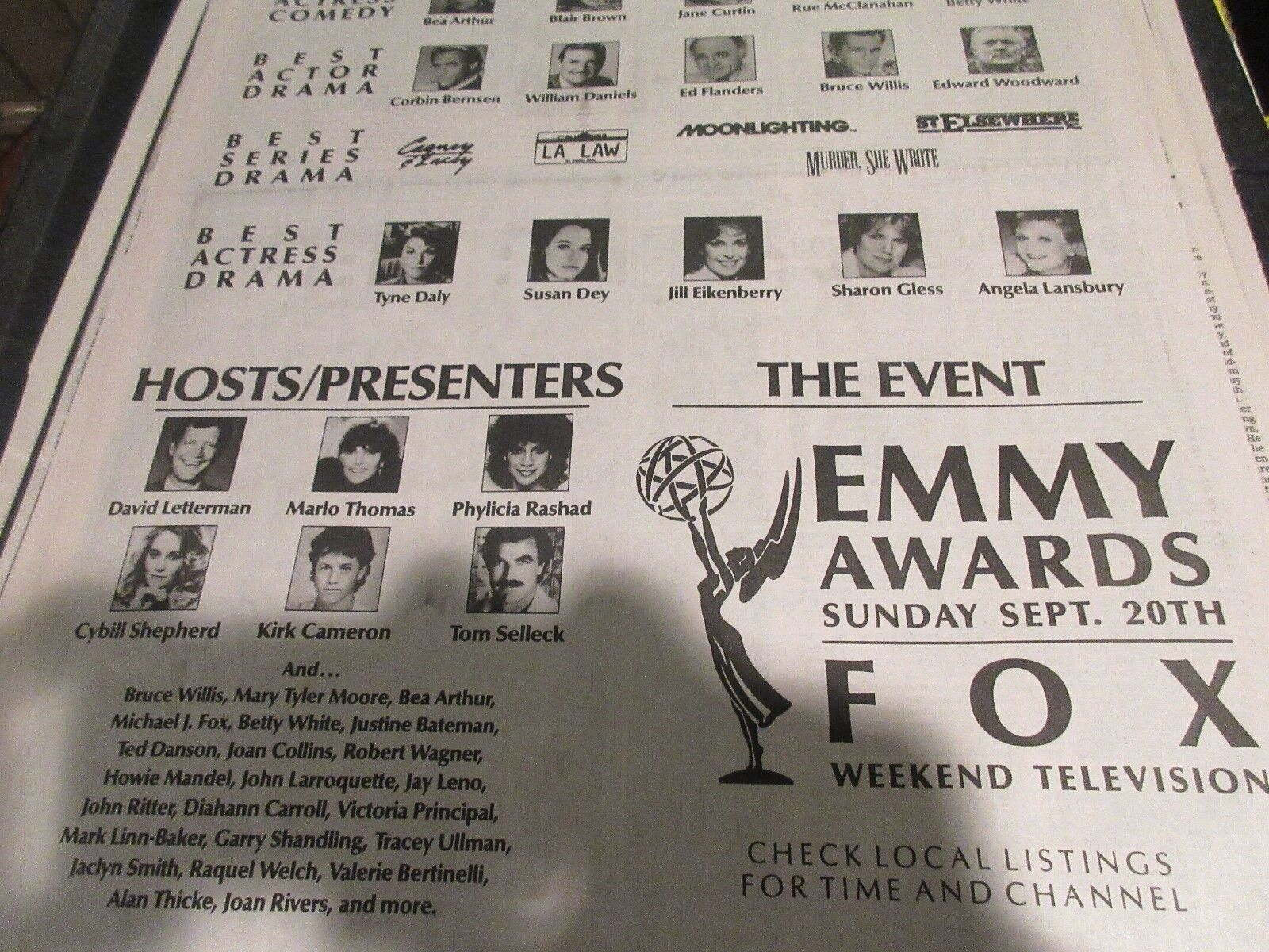 Emmy Awards , USA Today , Newspaper Clipping / Poster ,