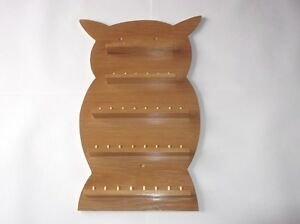 36pc-Owl-Wooden-Thimble-Display-Rack-Pine-huge-range-see-description