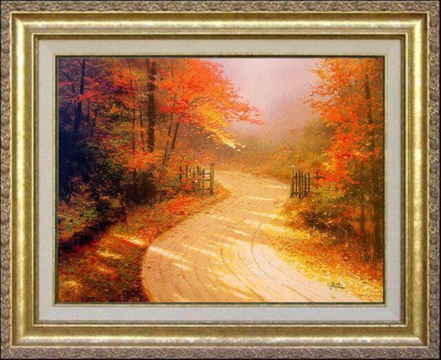 Thomas Kinkade Autumn Lane 16x20 Classic Edition Framed Canvas Fall