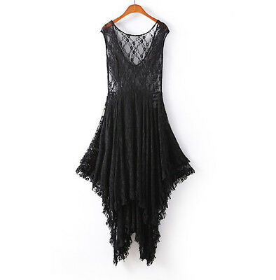 Sexy Vintage Party Evening Casual Prom Elegant Maxi Slim Long Sheer Lace Dress