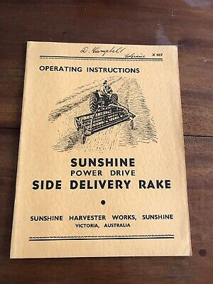 Farming & Agriculture Manuals New Fashion Sunshine Harvester Tractor Manual ~ Sunshine Side Delivery Rake Operating Manual To Have A Unique National Style