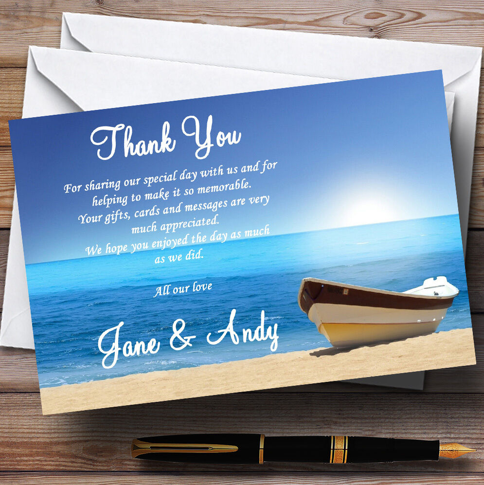 Beach Married Abroad   Jetting Jetting Jetting Off Personalised Wedding Thank You Cards 2c8735