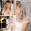 Ivory-White-Wedding-Veils-Shoulder-Length-Pearls-Short-With-Comb-Bridal-Veil thumbnail 1